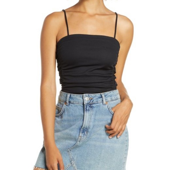 Free People Tops - NWT Free People Black Ruched Bodysuit